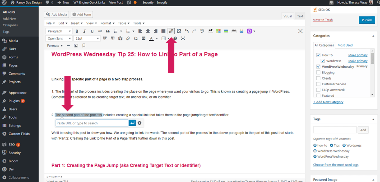 how do i link one part of a page to another part of a page