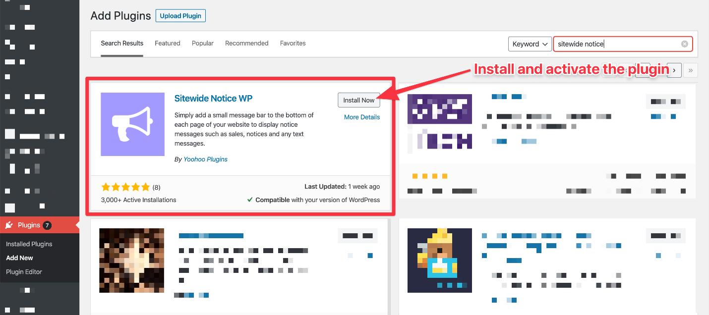 Adding sitewide notice plugin